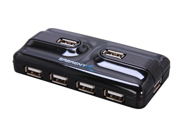 SABRENT USB-HWPS USB 2.0 External 7 Port Hub with Power Adapter