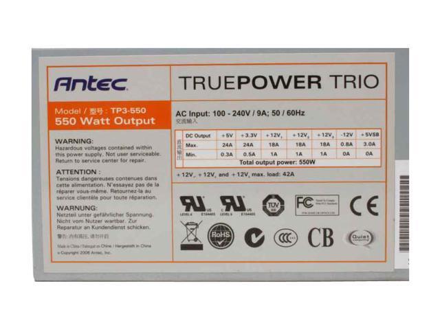 Antec True Power Trio TP3-550 550W ATX12V SLI Certified CrossFire Ready Active PFC Power Supply with Three 12V Rails
