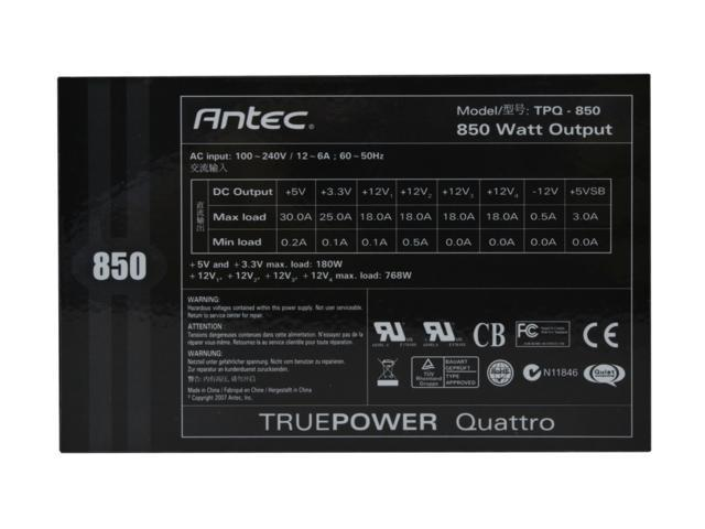 "Antec TPQ-850 850W Continuous Power ATX12V / EPS12V SLI Certified CrossFire Ready 80 PLUS BRONZE Certified Modular Active PFC ""compatible with Core i7/Core i5"" Power Supply"