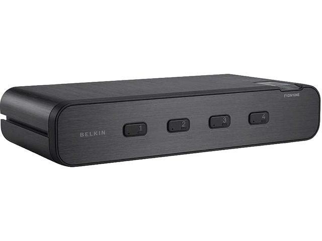 Belkin F1DN104E-3 - Advanced Secure Dual-Head DVI-I KVM Switch; 4-Port, PP3.0