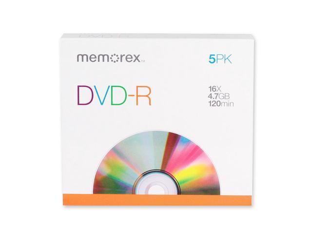 memorex 4.7GB 16X DVD-R 5 Packs Media Model 05655