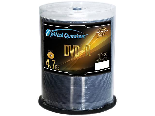 Optical Quantum 4.7GB 16X DVD+R LightScribe 100 Packs Gold Top Surface Disc Model OQDPR16LS