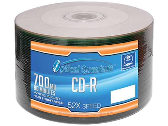 Optical Quantum 700MB 52X CD-R White Inkjet Hub Printable 50 Packs Disc Model OQCD52WIPH-50SP