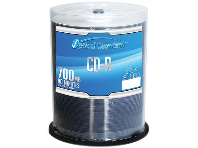 Optical Quantum 700MB 52X CD-R 100 Packs Silver Top Disc Model OQCD52ST