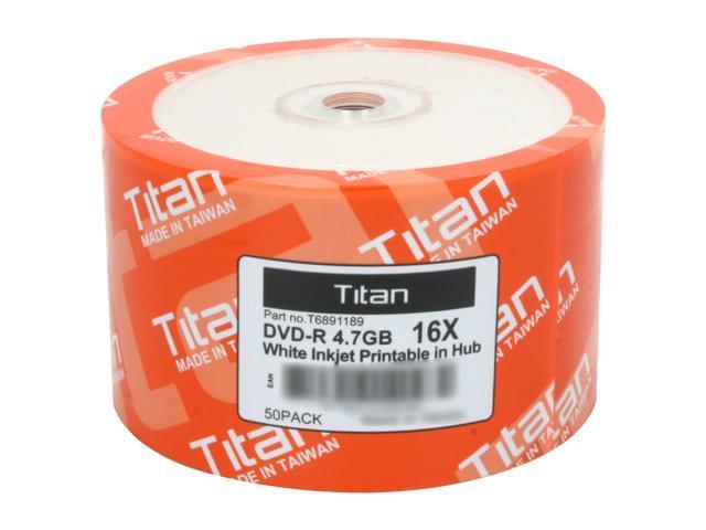 Titan 4.7GB 16X DVD-R White Inkjet Hub Printable Metalized Hub 50 Packs Disc Model T6891189