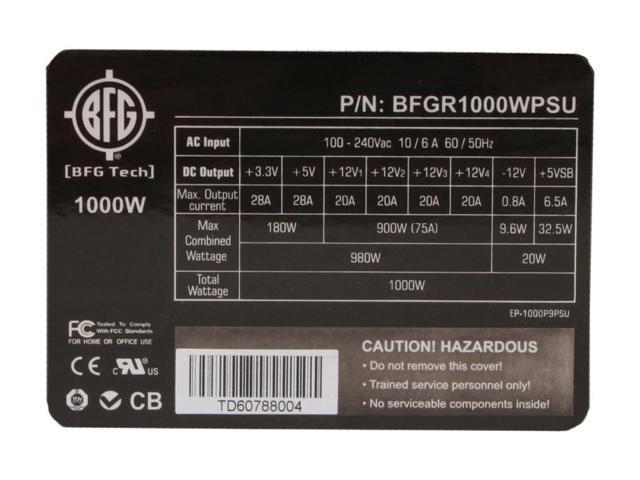 BFG Tech BFGR1000WPSU 1000W ATX 12V 2.2/EPS 12V 2.91 SLI Ready Active PFC Power Supply