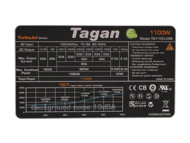 Tagan TG1100-U96 1100 Watts ATX12V / EPS12V SLI Certified CrossFire Ready Active PFC Power Supply