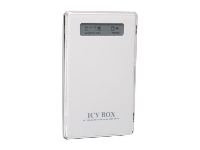 "ICY BOX IB-220U-Wh Aluminum 2.5"" White Mini-USB 2.0 External Enclosure w/display"