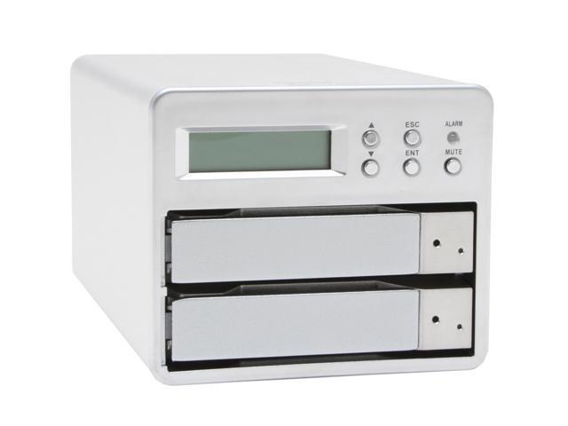 "SANS DIGITAL MS2UB 0, 1 2 3.5"" Drive Bays USB 2.0 (480Mbps) & 1394b (800Mbps) 2 Bay SATA to Firewire 800 (1394b) / USB 2.0 RAID 0 / RAID 1 Enclosure"