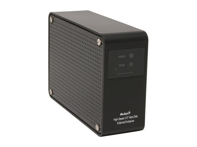 "Galaxy METAL GEAR 3507LR-Black 3.5"" Black USB 2.0 & RJ-45 External Enclosure w/Display & Blue LED Fan"