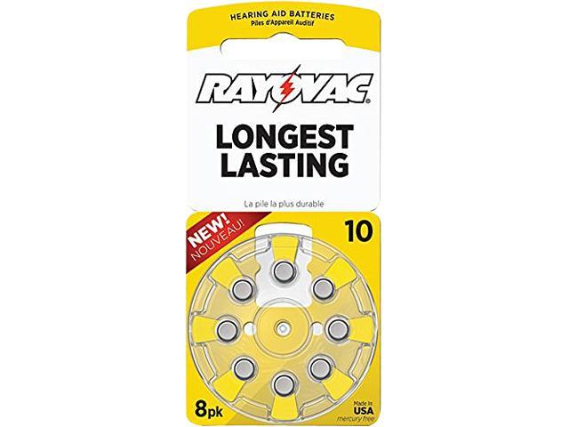 Rayovac L10ZA-8ZM Long-lasting 10 Size Hearing Aid Batteries 8 Pack