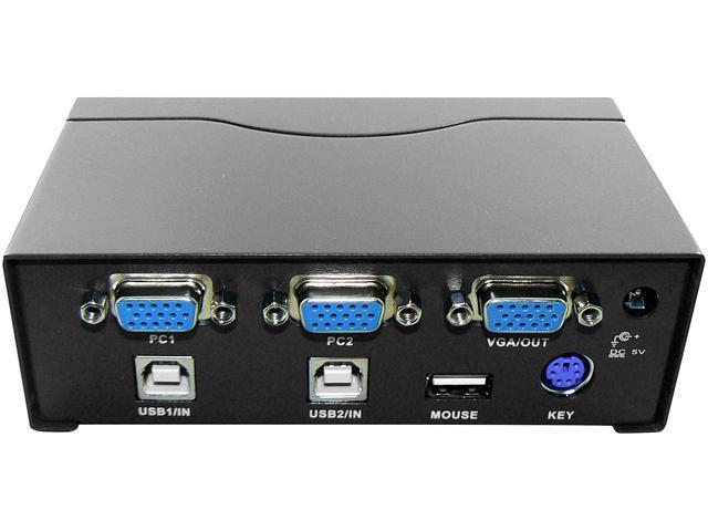 AWA Technology ROCKSOUL KA-02PUMVW51 Auto 2 PORT KVM Switch PS2 USB Black