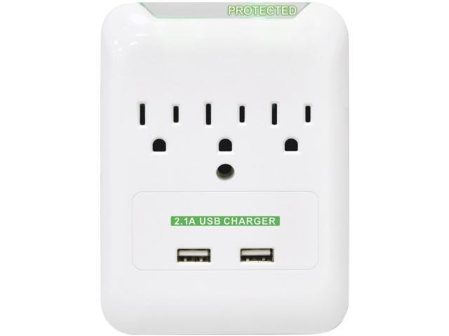 Surge Protector, Wall Tap, 3 Outlets/2 USB Ports, White CCS51547