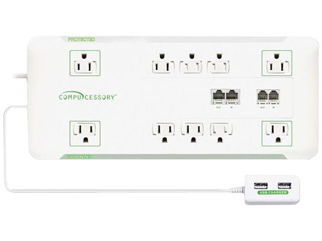 Slim Surge Protector,10-Outlet, 3420J, 6' Cord,1800W, WE CCS25134
