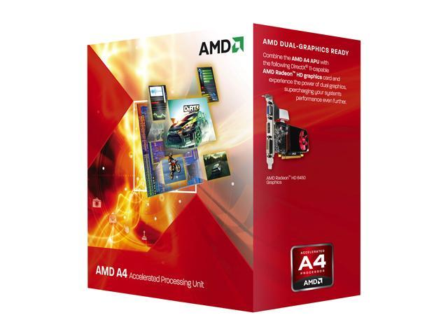 AMD A4-3400 Llano Dual-Core 2.7 GHz Socket FM1 65W AD3400OJGXBOX Desktop APU (CPU + GPU) with DirectX 11 Graphic AMD Radeon HD 6410D