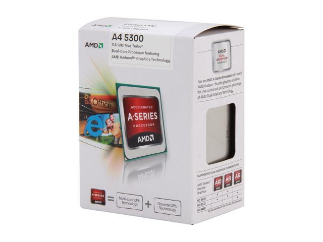AMD A4-5300 Trinity Dual-Core 3.4GHz (3.6GHz Turbo) Socket FM2 65W AD5300OKHJBOX Desktop APU (CPU + GPU) with DirectX 11 Graphic AMD Radeon HD 7480D