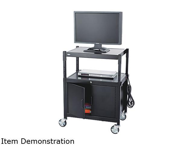 Safco 8943BL Steel Adjustable AV Cart With Cabinet 26 3/4