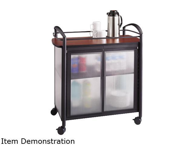 Safco 8966BL Impromptu Refreshment Cart, 1-Shelf, 34w x 21-1/4d x 36-1/2h, Cherry/Black