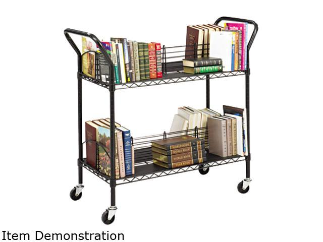 Safco 5333BL Wire Book Cart, Steel, 4 Shelves, 43-3/4w x 19-1/4d x 40-1/2h, Black