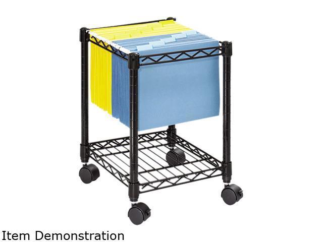Safco 5277BL Compact Mobile Wire File Cart, 1-Shelf, 15-1/2w x 14d x 19-1/2h, Black