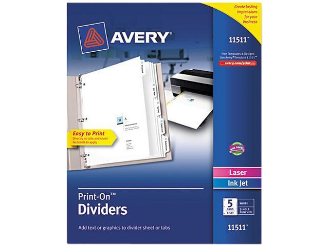 Customizable Print-On Dividers 5-Tab Letter