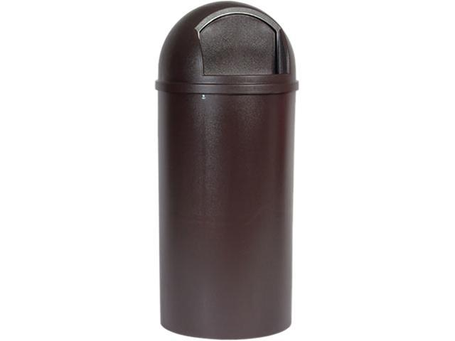 Rubbermaid Commercial Products RCP 8170-88 BRO 25 Gallon Dome Top Trash Receptacle with Hinged Door - Brown