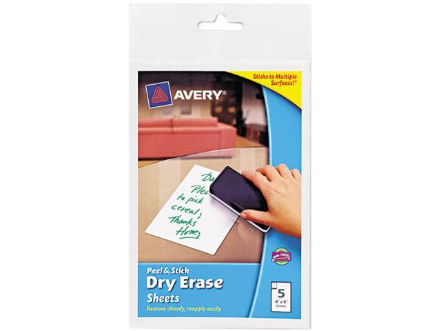 Peel & Stick Dry Erase Sheets, 4 X 6, White, 5/Pack