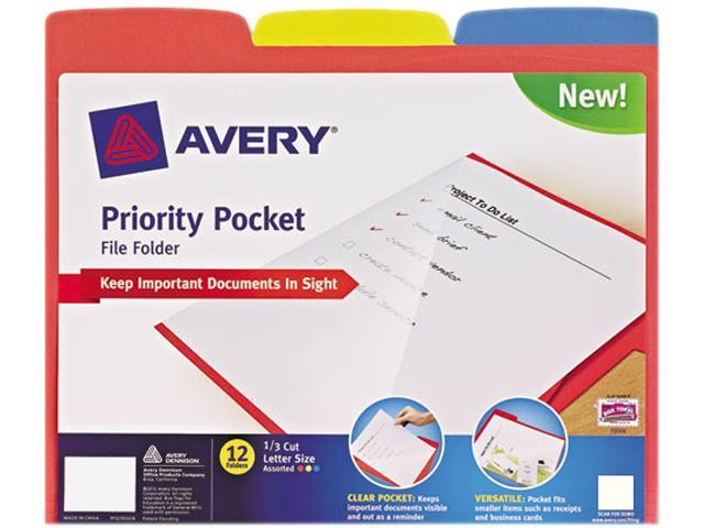 Priority Pocket File Folder, Letter, 1/3 Cut Tab Top, Assorted, 24/Pac