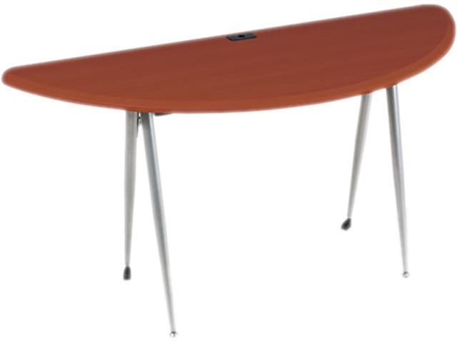 Iflex Series Half Round Table, 62W X 24D X 29H, Cherry/Silver