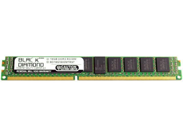 Black Diamond Memory VLP 16GB 240-Pin DDR3 SDRAM DDR3 1600 (PC3 12800) ECC Registered System Specific Memory Model BD16G1600MTR97IB