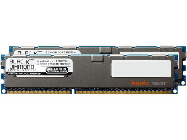 Black Diamond Memory 16GB (2 x 8GB) 240-Pin DDR3 SDRAM DDR3 1333 (PC3 10600) ECC Registered System Specific Memory Model BD8GX21333MTR23HP