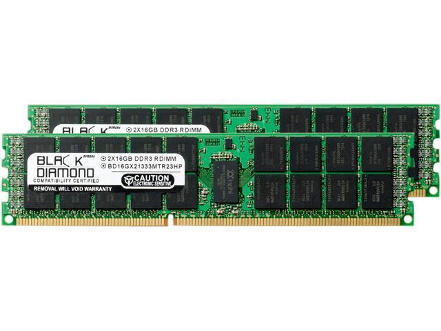 Black Diamond Memory 32GB (2 x 16GB) 240-Pin DDR3 SDRAM DDR3 1333 (PC3 10600) ECC Registered System Specific Memory Model BD16GX21333MTR23HP