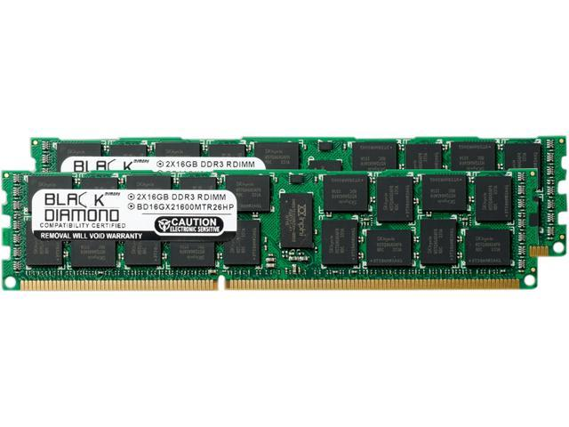 Black Diamond Memory 32GB (2 x 16GB) 240-Pin DDR3 SDRAM DDR3 1600 (PC3 12800) ECC Registered System Specific Memory Model BD16GX21600MTR26HP