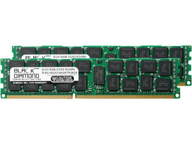 Black Diamond Memory 32GB (2 x 16GB) 240-Pin DDR3 SDRAM DDR3 1600 (PC3 12800) ECC Registered System Specific Memory Model BD16GX21600MTR26DE