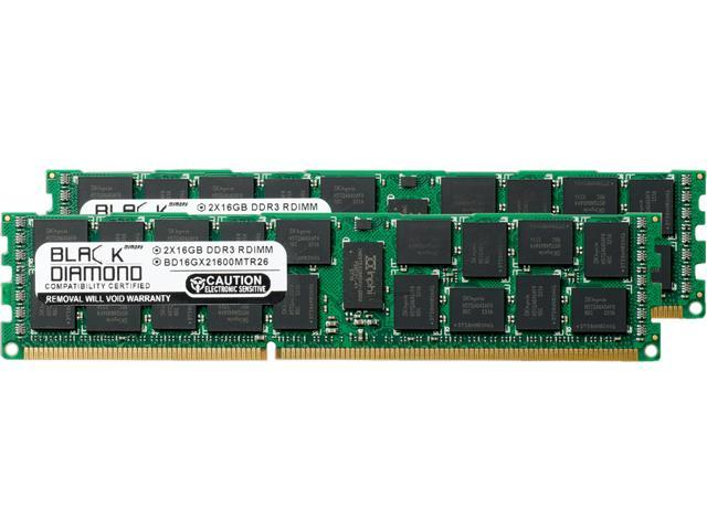 Black Diamond Memory 32GB (2 x 16GB) 240-Pin DDR3 SDRAM DDR3 1866 (PC3 14900) ECC Registered System Specific Memory Model BD16GX21866MTR26DE