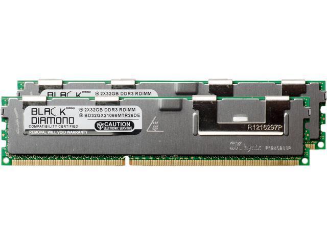 Black Diamond Memory 64GB (2 x 32GB) 240-Pin DDR3 SDRAM DDR3 1066 (PC3 8500) ECC Registered System Specific Memory Model BD32GX21066MTR26DE
