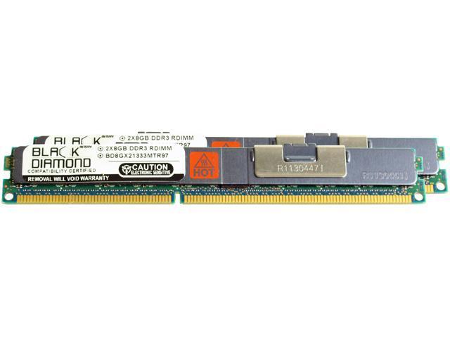 Black Diamond Memory VLP 16GB (2 x 8GB) 240-Pin DDR3 SDRAM DDR3 1333 (PC3 10600) ECC Registered System Specific Memory Model BD8GX21333MTR97IB