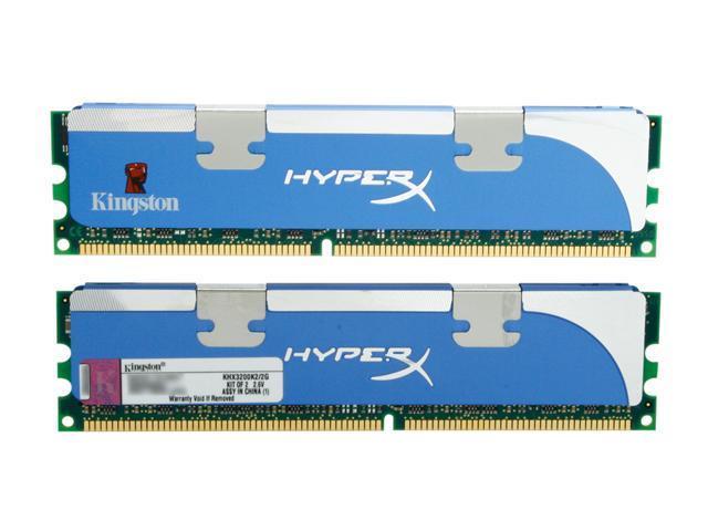 Kingston HyperX 2GB (2 x 1GB) 184-Pin DDR SDRAM DDR 400 (PC 3200) Dual Channel Kit Desktop Memory Model KHX3200K2/2G