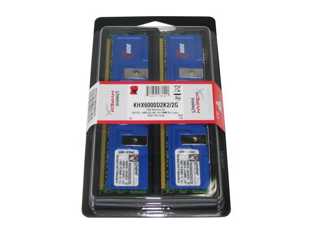 Kingston HyperX 2GB (2 x 1GB) 240-Pin DDR2 SDRAM DDR2 750 (PC2 6000) Dual Channel Kit Desktop Memory Model KHX6000D2K2/2G