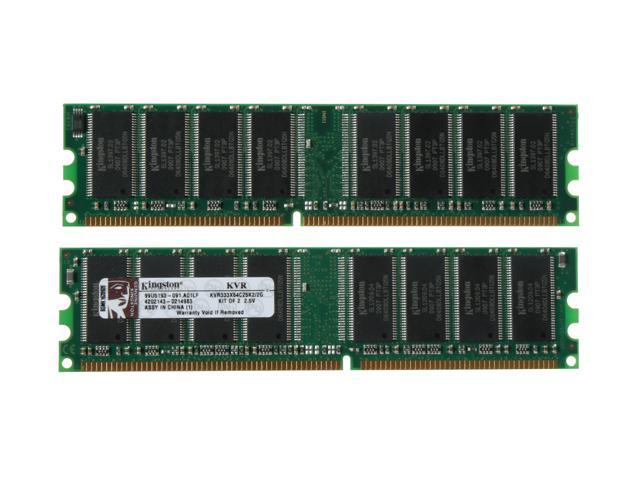 Kingston ValueRAM 2GB (2 x 1GB) 184-Pin DDR SDRAM DDR 333 (PC 2700) Dual Channel Kit Desktop Memory Model KVR333X64C25K2/2G