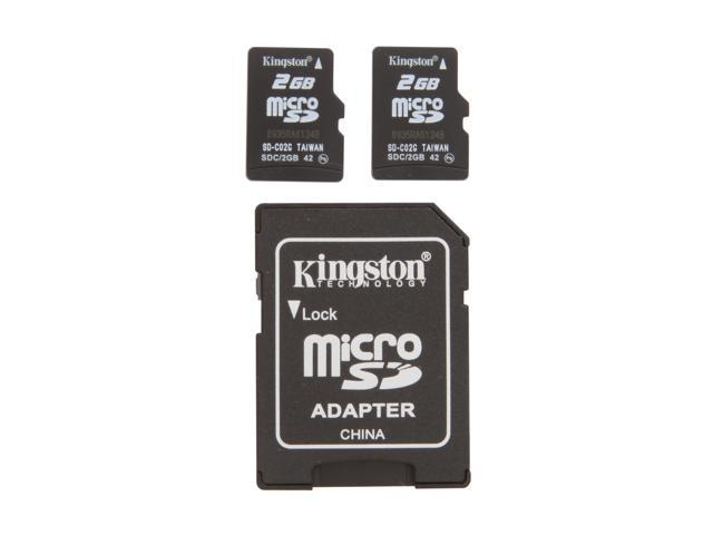 Kingston 4GB (2GB x 2) MicroSD Flash Card Twin Pack (2pcs) One Adapter Model SDC/2GB-2P1A