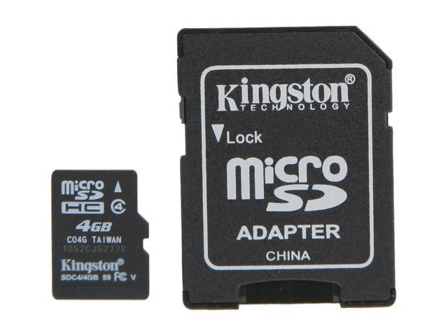 Kingston 4GB microSDHC Flash Card W/ E-Tail clamshell Model SDC4/4GBET