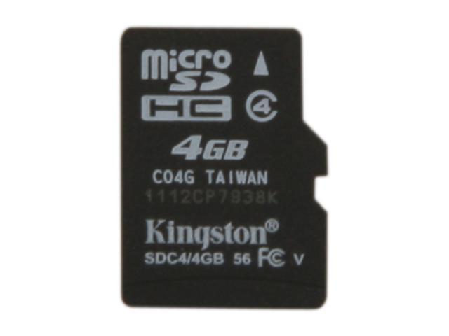 Kingston 4GB microSDHC Flash Card w/o Adapter Model SDC4/4GBSP