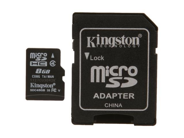 Kingston 8GB microSDHC Flash Card Model SDC4/8GBET