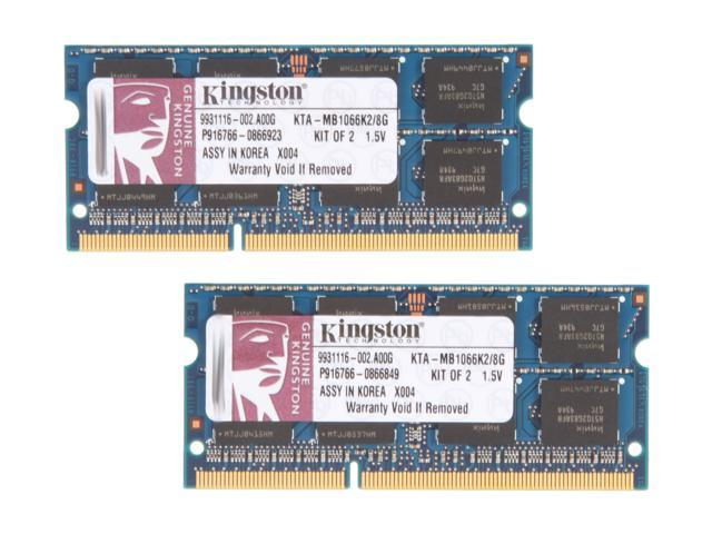 Kingston 8GB (2 x 4GB) 204-Pin DDR3 SO-DIMM DDR3 1066 Memory for Apple Model KTA-MB1066K2/8G