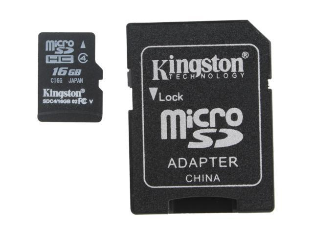 Kingston 16GB microSDHC Flash Card Model SDC4/16GB