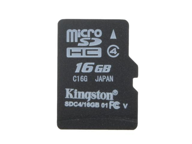 Kingston 16GB MicroSDHC Class 4 Memory Card (SDC4/16GBSP)
