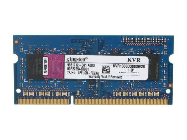 Kingston ValueRAM 2GB 204-Pin DDR3 SO-DIMM DDR3 1333 (PC3 10600) Notebook Memory Model KVR1333D3S8S9/2G