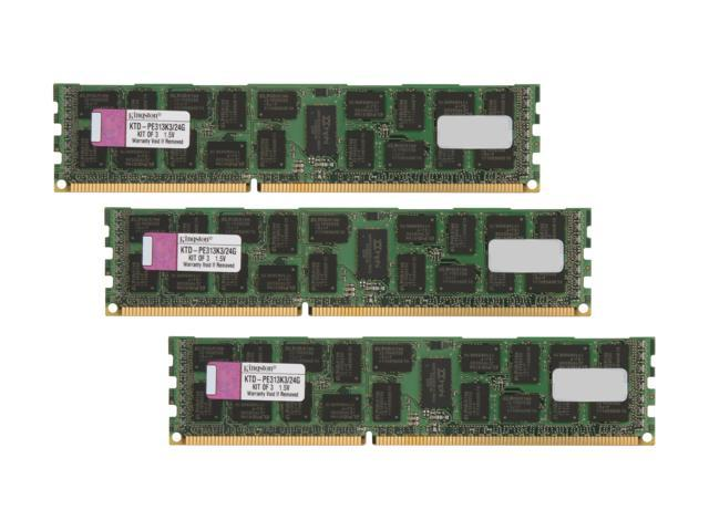 Kingston 24GB (3 x 8GB) 240-Pin DDR3 SDRAM DDR3 1333 (PC3 10600) ECC Registered System Specific Memory Model KTD-PE313K3/24G