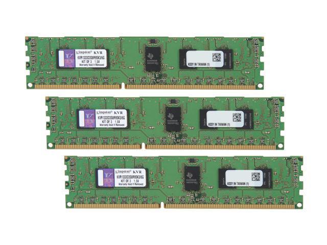 Kingston ValueRAM 6GB (3 x 2GB) 240-Pin DDR3 SDRAM ECC Registered DDR3 1333 Server Memory Model KVR1333D3S8R9SK3/6G